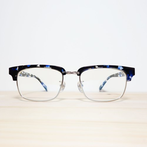 Japan Dai-cap blue metal frame glasses lens eyebrow blue box 30g