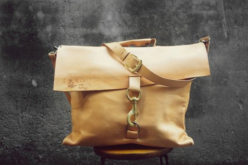After ~ ~ homemade vegetable tanned leather messenger bag accessory BC-80