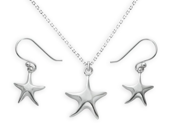 16-inch sterling silver starfish Ocean Star clavicle chain / starfish earrings Kits