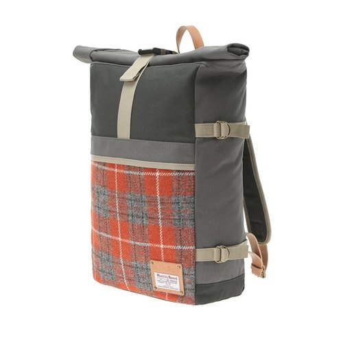 HARRIS TWEED ROLL-TOP BACKPACK - ORANGE