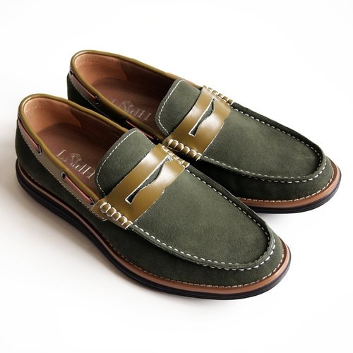[LMdH] D2B11-49 calf suede shoe bottom stitching Penny-shoes loafers ‧ ‧ green free shipping