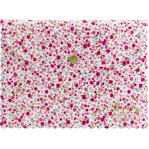 [Japanese] Frill LABCLIP Series Flat pouch Multifunctional Storage Bag (button) Pink