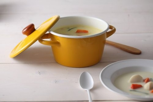CB Nordic series mustard yellow enamel pot pot [Buy send wooden spatula. While supplies last]