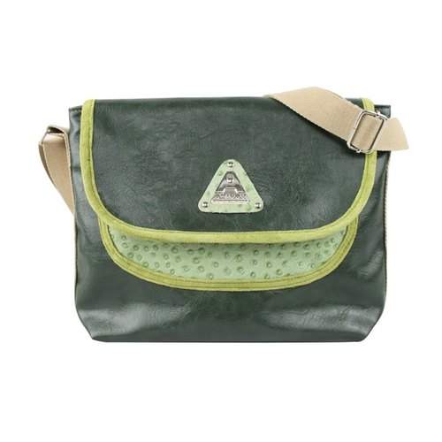 AMINAH- refurbished vintage Italian - real ostrich embossed leather casual shoulder bag - Green [am-0239]