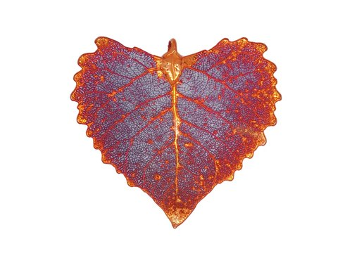 Edith & Jaz • Natural Cottonwood Leaf Pendant – Red Copper Color