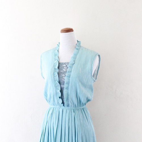 [RE0812D469] Japanese lace stitching sleeveless vintage dress blue-green water