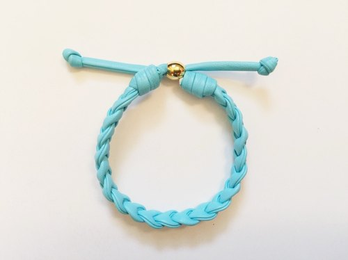 """Light blue imitation leather cord twist"""
