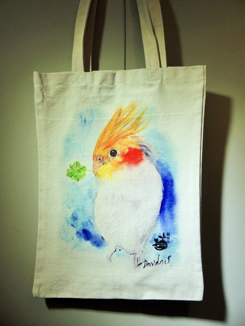 David painted cat _ Limited cockatiel sided bag _