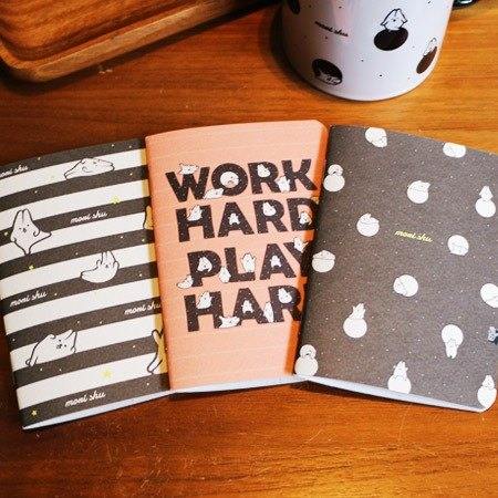 * Mori Shu * passport-sized pocket notebook - mochi rabbit black and white dots / bar / letter