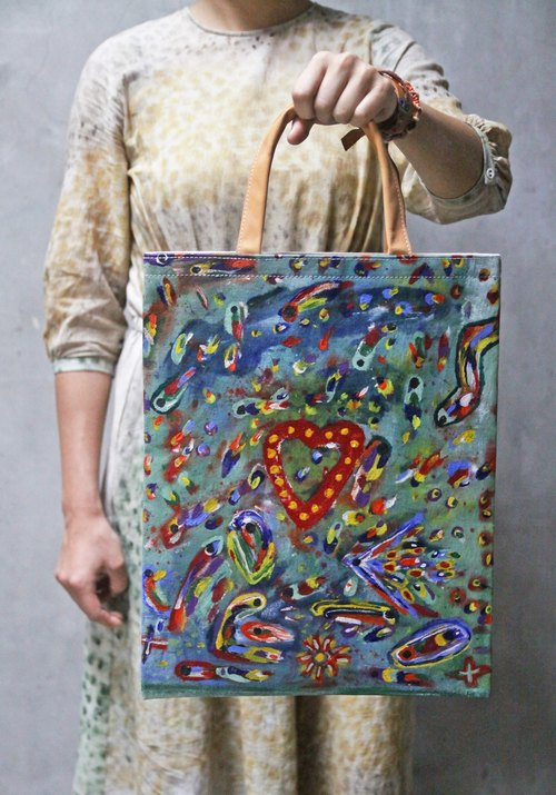 Hand-painted canvas bag / limited manual / Bangladesh