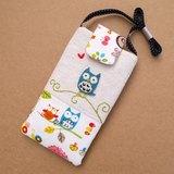 藍貓頭鷹刺繡手機袋(L)