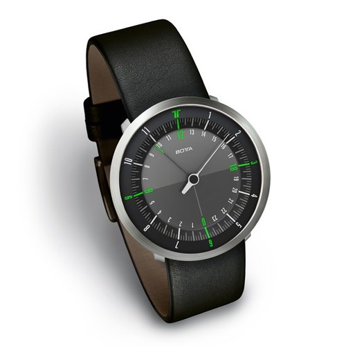 [] DUO series BOTTA design black and green area twin single needle double time zone watch Germany 258 010