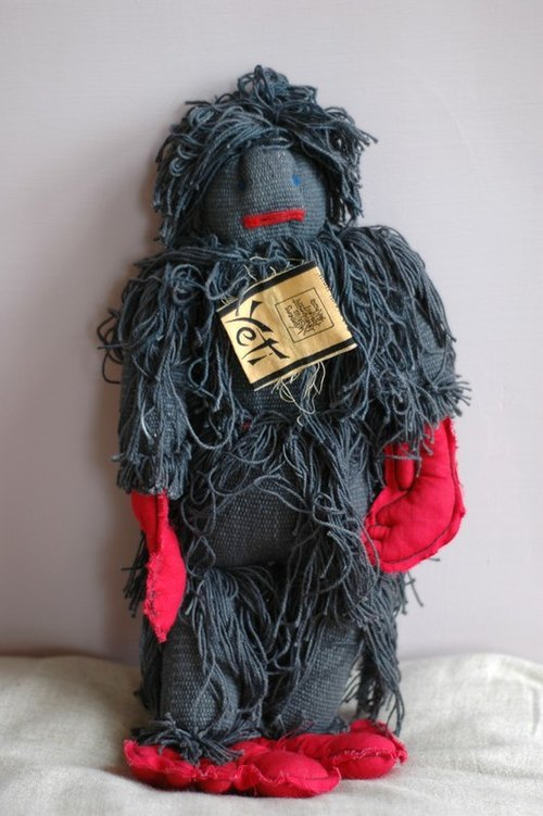 Hand-woven cotton doll -yeti (the legendary Bigfoot Yeti) - Black - Large