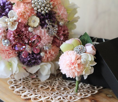 [Classic lace bouquet jewelry ball daisy corsage and bouquet Shipping] combination (pink and purple)