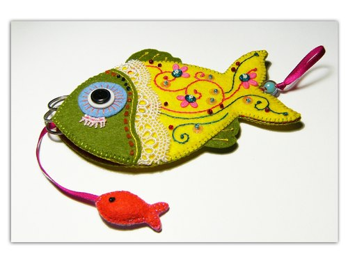 Key Holder- yellow-green fish