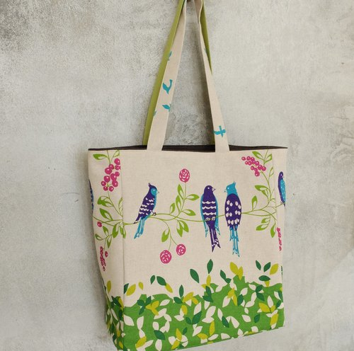 Blue magpie birds humming of cotton print cloth shopping bags Tote