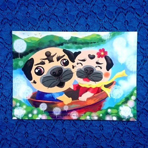 Pug Postcard-Together with you-05