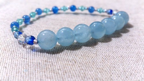 [Only for Ohama ~] crystal in dearsharka || aquamarine light blue apatite x x x white crystal blue agate. Soft blue beautiful clouds of clouds