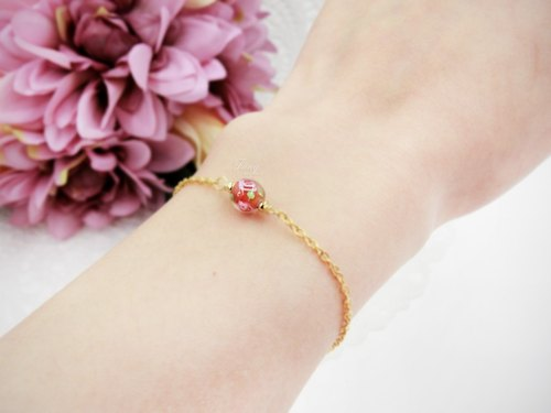 ❖Fang❖ [dot] crystal glass rose small / warm red bracelet