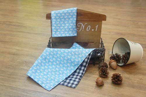 [Swan Dance - blue] soft double gauze handkerchief group