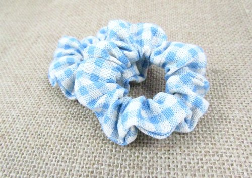 Hand made Mini hair scrunchies - Blue plaid