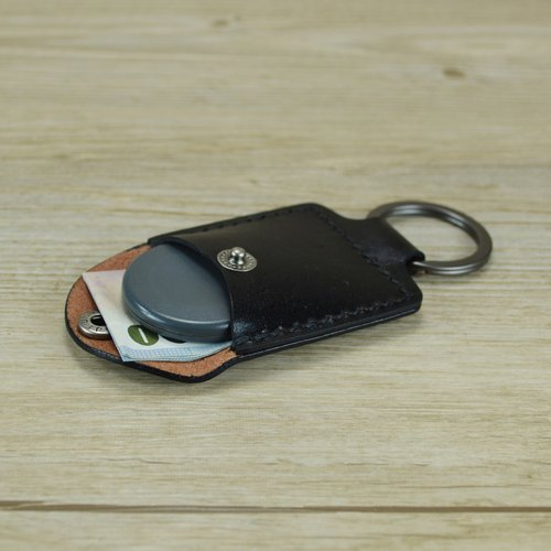 【kuo's artwork】 Hand stitched leather coin pouch keychain
