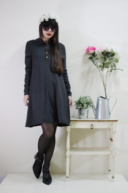 F1542 [Italian made bids] (Vintage) gray wool knit long-sleeved vintage dress (Made in Italy)