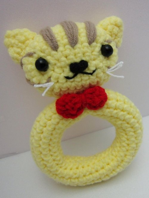 Tabby. Knitting wool rattle ~ cutest births ceremony