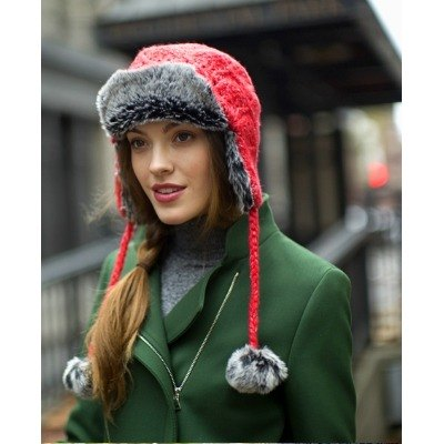 *winter warm*[US pistil] hair balls jacquard flight caps Parfait [red]
