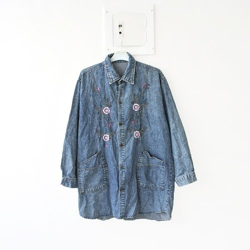 │Slowly│ Flowers Story tannic vintage denim jacket │vintage. Forest retro. British Literature and Art. Japanese girl. Sweet classical.
