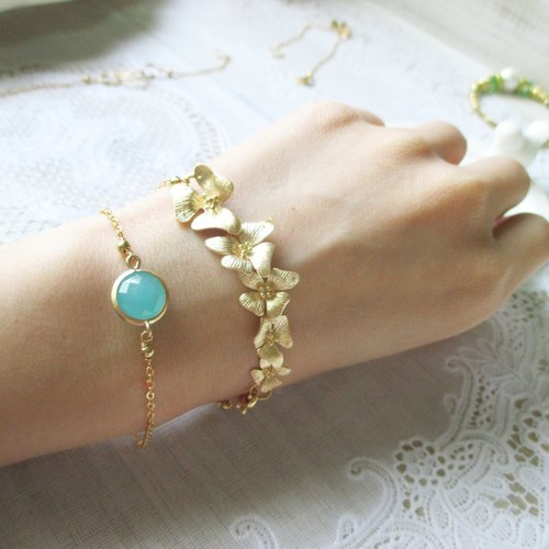 [Summertime little gem. Protein Blue] Retro vintage. 14k gold-plated brass fine chain.