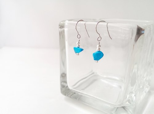 Vintage handmade silver earrings, natural stone [blue]
