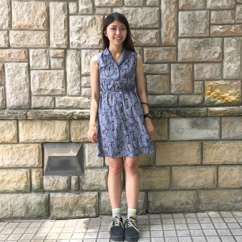 Vintage dress _ / Lightning Blue / printing / chiffon