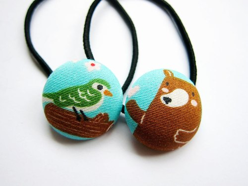 Hand-made cloth button hair headband ring birds and bears