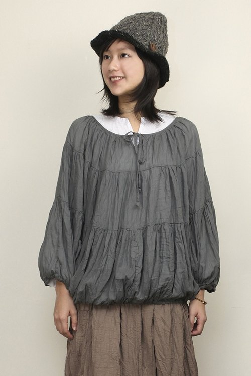 Omake wide drawstring collar long-sleeved shirt