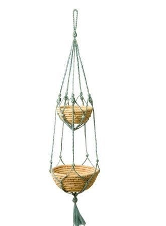 "Earth tree fair trade- ""living groceries Series"" - two coconut leaf + rope basket"