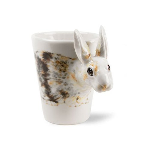 [May] lettering animal mugs Blue Witch British hand-painted ceramic mug cup white rabbit three-dimensional lettering