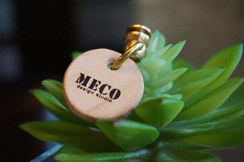 MECO Pet name leather tag pure handmade single picture textbook system without limit 3cm diameter