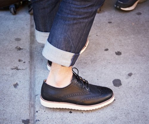【Korean brand】Brawn Brows Lace up derbies with a wing tip design BB6001 BLACK