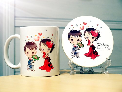 """. Wedding for LOVE wedding small things"" first-generation Q version of the style - enthusiastic courtship. Mug (straight) - Coaster combination"