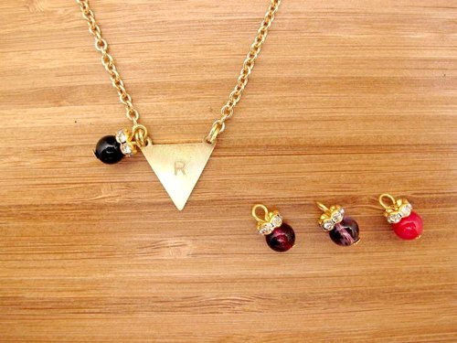 ▲ knocked triangle symbol custom 26 letters logo ▲ brass necklace SZ
