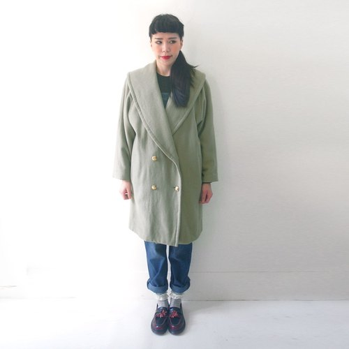 Grass green lapel double-breasted wool coat jacket vintage