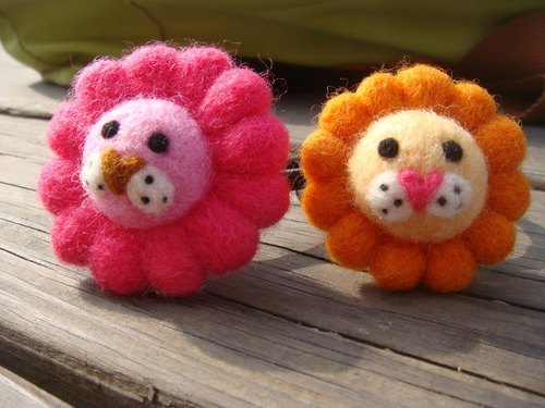 Minibobi hand-made wool felt - Strawberry Lions & amp; orange lion / hair band / brooch
