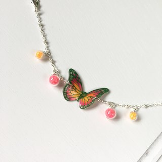 * Haku‧Neko * Luminous green pattern pink orange hand painted butterfly bright glass ball bracelet