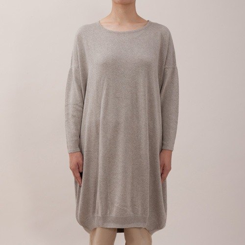 "Earth tree fair trade- ""organic cotton clothing"" - organic cotton round neck Knit Long Top (Gray)"