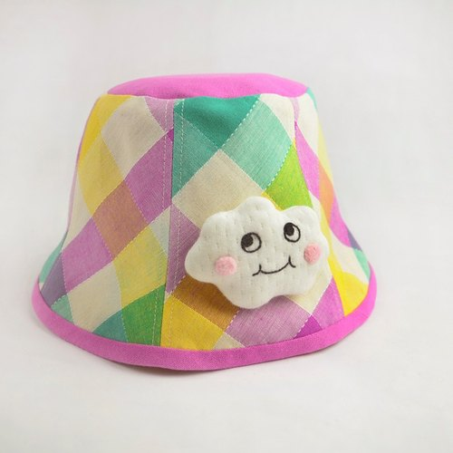 Check clouds colorful children's casual hat friend
