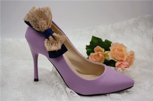 Simple blue chiffon lace fight cute princess shoes decorated bow temperament bride wedding shoes high-heeled shoes jewelry
