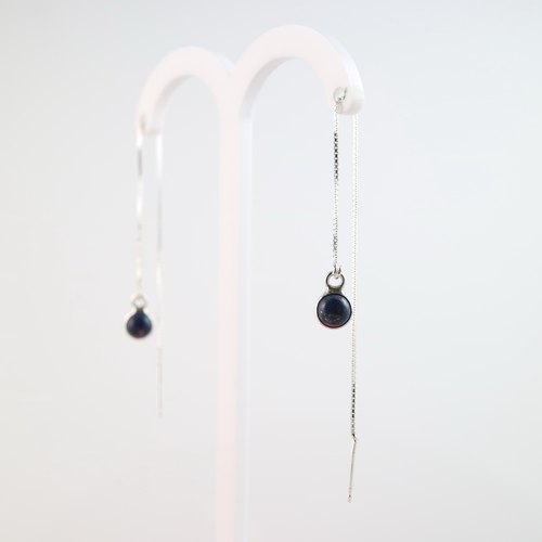 [ColorDay] lapis lazuli silver earrings ear chain <Lapis Lazuli Silver Earring>