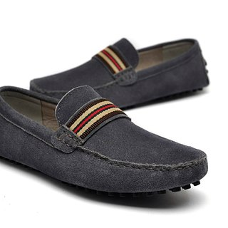 British style suede shoes LOAFERS Grey Carrefour Peas