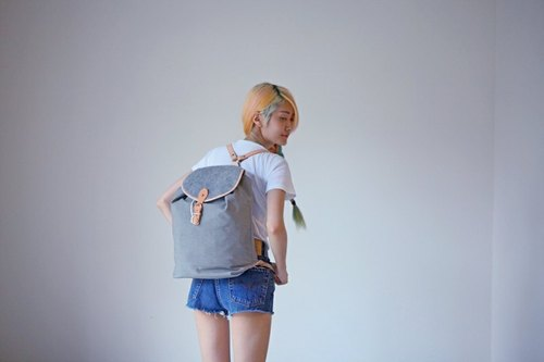 A ROOM MODEL - iron gray wool felt roll skin side single buckle Backpack